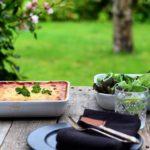 Cremet lasagne med svampe & frisk spinat