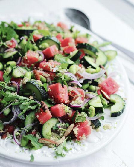 Quinoasalat med vandmelon og edamamebønner