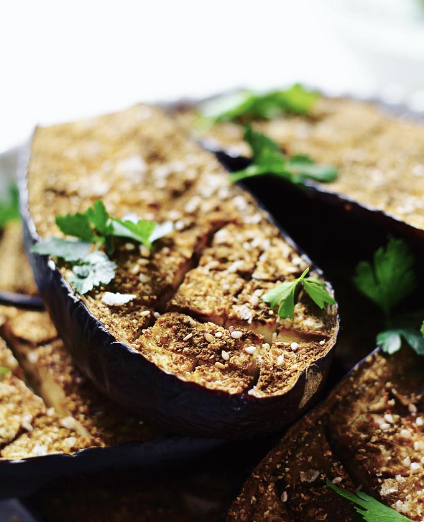 Bagt aubergine med citron-skyr-dressing